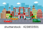 flat vector police office... | Shutterstock .eps vector #423853501