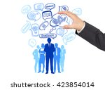 hand with teamwork concept icon ... | Shutterstock . vector #423854014