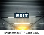 illuminated corporate office... | Shutterstock . vector #423858307