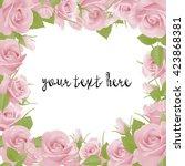 retro pink roses frame border... | Shutterstock .eps vector #423868381