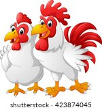 illustration of hen and rooster | Shutterstock . vector #423874045