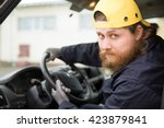 the bearded truck driver in... | Shutterstock . vector #423879841