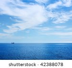 alone ship in blue sea | Shutterstock . vector #42388078