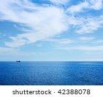 Alone Ship In Blue Sea