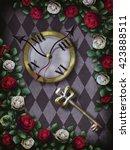 alice in wonderland. red  roses ... | Shutterstock . vector #423888511
