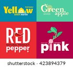 set of colored logos on the... | Shutterstock . vector #423894379