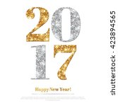 happy new year 2017 greeting... | Shutterstock .eps vector #423894565