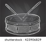 snare drum and sticks sketch... | Shutterstock .eps vector #423906829