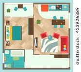 flat interior top view with... | Shutterstock .eps vector #423926389