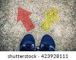 Choices concept   feet on floor ...