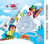 maze snowboard | Shutterstock .eps vector #423929884