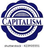 capitalism badge with denim... | Shutterstock .eps vector #423935551