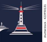 lighthouse sea night landscape... | Shutterstock .eps vector #423950131