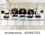 high angle view of call center... | Shutterstock . vector #423967531