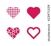 set of 4 valentine hearths | Shutterstock . vector #423971539