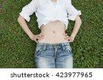 stomach of woman | Shutterstock . vector #423977965