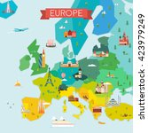 map of europe. travel and... | Shutterstock .eps vector #423979249
