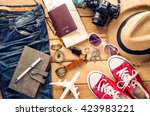 travel accessories for trip on... | Shutterstock . vector #423983221