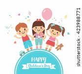 happy children's day. cartoon... | Shutterstock .eps vector #423988771