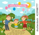 happy parents with baby.... | Shutterstock .eps vector #423988777