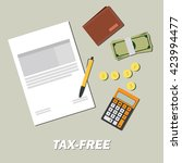 tax free with document paper... | Shutterstock .eps vector #423994477