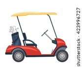 Red Golf Cart Vector...