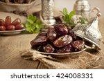 dried date palm fruits or kurma ... | Shutterstock . vector #424008331