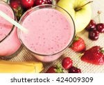 banana and strawberry smoothie... | Shutterstock . vector #424009309