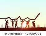 working in collaboration for... | Shutterstock . vector #424009771