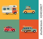 cool set of leisure  road trip... | Shutterstock .eps vector #424010827