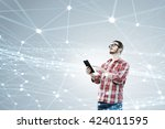 global wireless connection | Shutterstock . vector #424011595