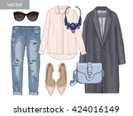 lady fashion set of autumn... | Shutterstock .eps vector #424016149
