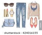 lady fashion set of autumn... | Shutterstock .eps vector #424016155