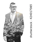 Double Exposure Of Businessman...