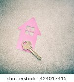key and house symbol. concept... | Shutterstock . vector #424017415