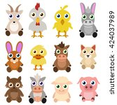 baby farm animals | Shutterstock .eps vector #424037989