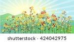 the green meadow with flowers ... | Shutterstock .eps vector #424042975