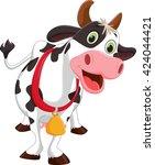 happy cow cartoon    Shutterstock . vector #424044421