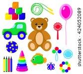 toys kids set isolated on white ... | Shutterstock .eps vector #424052089