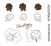 cloudberry. set. solid drawing... | Shutterstock .eps vector #424061029