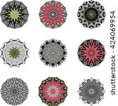 ethnic symbol indian mandala set | Shutterstock .eps vector #424069954