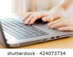 woman working at home office... | Shutterstock . vector #424073734