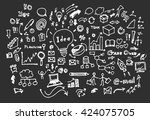 hand drawn business icons set.... | Shutterstock .eps vector #424075705