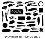 vector set of grunge artistic... | Shutterstock .eps vector #424081879