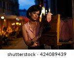 beautiful girl in vintage... | Shutterstock . vector #424089439