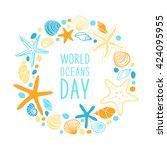cute world oceans day... | Shutterstock . vector #424095955