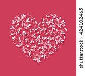 white heart on pink background. ... | Shutterstock . vector #424102465