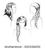 gorgeous long hair braided... | Shutterstock .eps vector #424106431