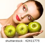 casual woman with an apple...   Shutterstock . vector #42411775