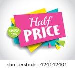 half price sale concept vector... | Shutterstock .eps vector #424142401